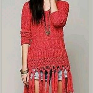 Free People Hooded sweater with fringes